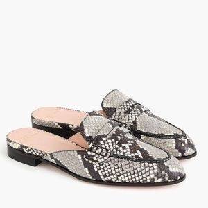 J CREW mules in snake-embossed leather
